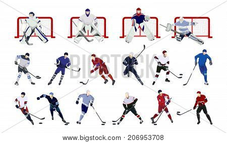 Hockey players set on white background. Colorful silhouettes.