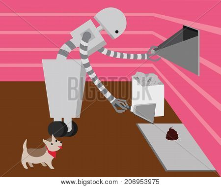 Domestic robot cleaning dogs poop. Personal robot housekeeping futuristic concept illustration vector.