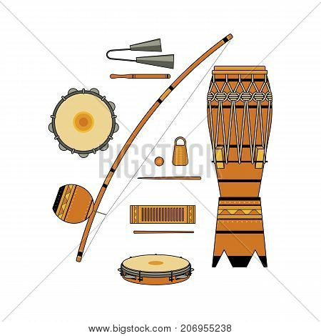 Set of isolated colorful decorative ornate brazilian musical instrument for bateria of capoeira on white background. Colored collection of instruments: atabaque agogo pandeiro reco-reco berimbau