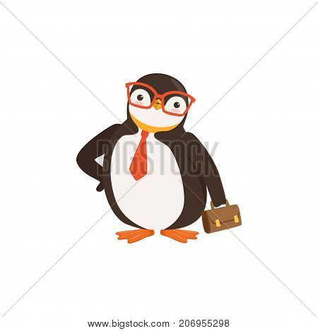 The image shows a penguin with a red tie and glasses, who is holding a briefcase.