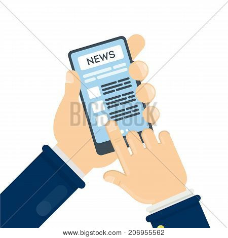 News on smartphone. Hnds holding device with breaking news.