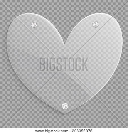 Glass icon in the shape of a heart for a romantic design of love greetings.