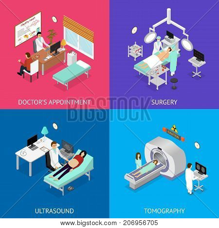 Consultation Specialis Patient, Scanner Tomography, Reproduction Care and Services, Nurse and Doctor in Surgery Operating Room Interior of Clinic Isometric View. Vector illustration