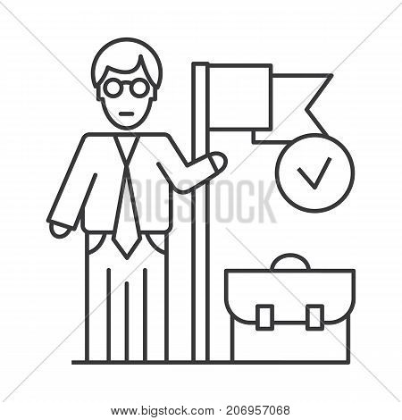 accomplished business mission  vector line icon, sign, illustration on white background, editable strokes