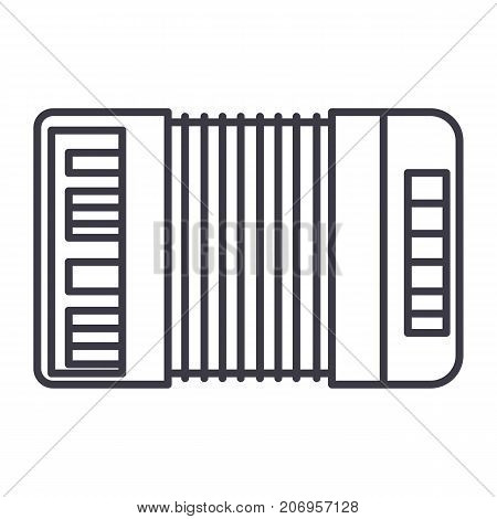 accordion vector line icon, sign, illustration on white background, editable strokes