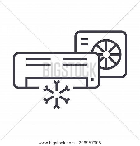air conditioner, split system vector line icon, sign, illustration on white background, editable strokes