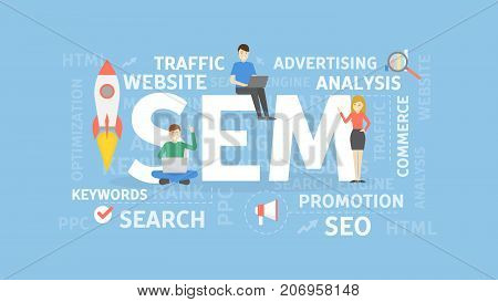 Search engine marketing concept illustration. Idea of website, analisys and advertising.