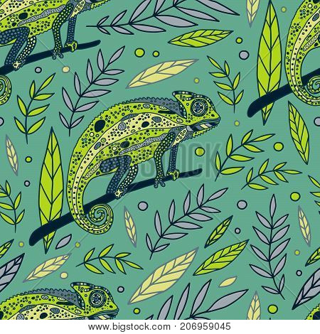 Chameleon and leaves vector green seamless pattern.
