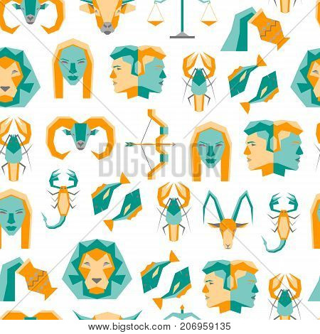 Cartoon Zodiac Symbol Background Pattern on a White Flat Style Design Concept Astrological Elements for Web. Vector illustration