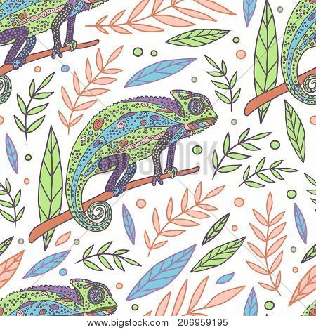 Chameleon and leaves vector white seamless pattern.