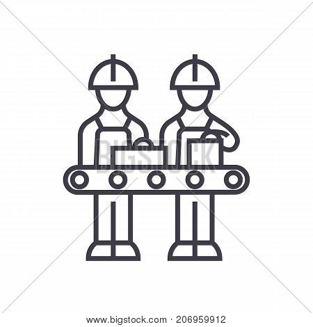 assembly line vector line icon, sign, illustration on white background, editable strokes