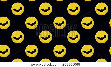 Moon with bat halloween seamless patter. Moon and bat pattern. Vector stock.