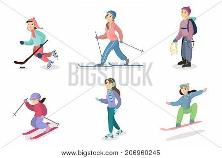 Winter activities set. People skiing and snowboarding, ice skating and hiking.