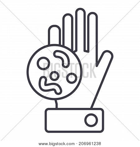 bacteria, dirty hand vector line icon, sign, illustration on white background, editable strokes