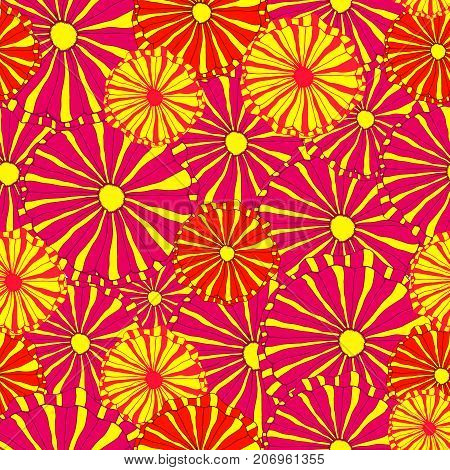 Hand drawing bright, decorative wild flowers seamless pattern, cartoon psychedelic style, multicolored floral vector background.