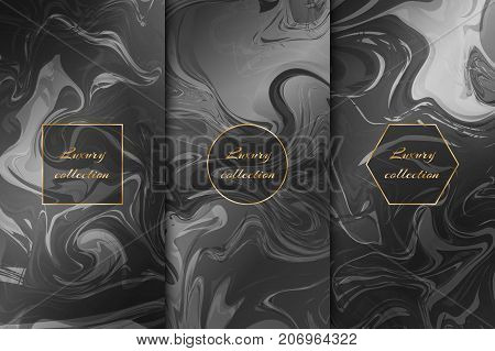 A set of elegant backgrounds with a marble texture, a gold frame for decorating packaging