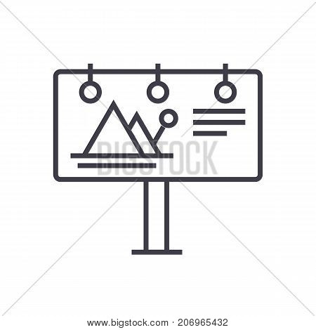 billboard, advertising vector line icon, sign, illustration on white background, editable strokes