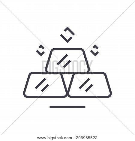 billion, gold bars vector line icon, sign, illustration on white background, editable strokes
