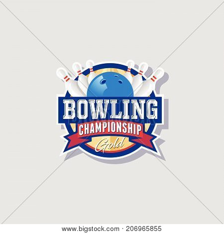 Bowling championship emblem. Bowling logo. Skittles and ball in a circle with ribbons.