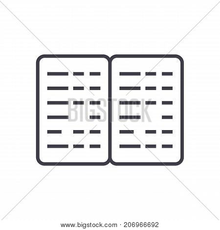 bookkeeping, budget vector line icon, sign, illustration on white background, editable strokes