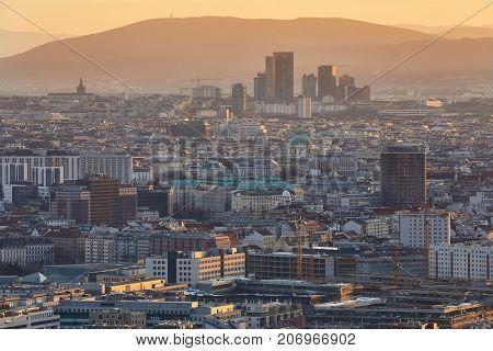 Vienna bird's eye view in twilight