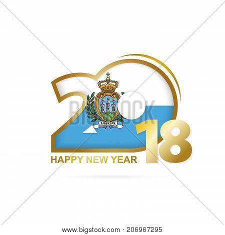 Year 2018 With San Marino Flag Pattern. Happy New Year Design.