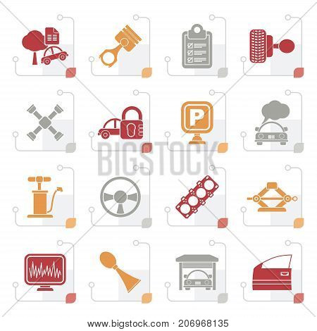 Stylized Car parts and services icons - vector icon set 2