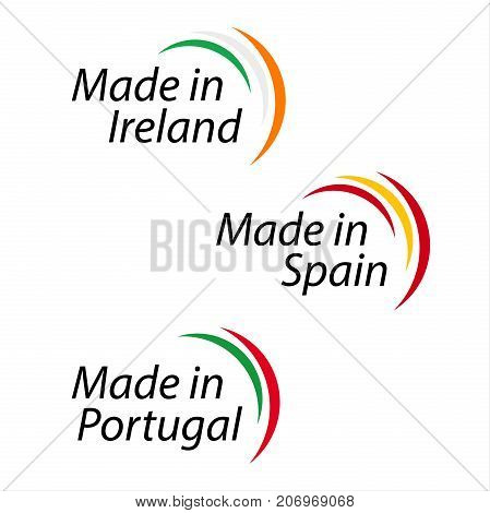 Simple logos Made in Ireland Made in Spain Made in Portugal vector logos with Irish Spanish and Portuguese colors