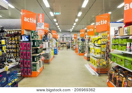 NETHERLANDS - LEIDSCHENDAM - SEPTEMBER 8 2017: Interior of a store from the diy Gamma holding in Leidschendam Netherlands with varied collection of do it yourself products.