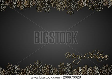 Christmas black background lined golden snowflakes simple holiday card Merry Christmas
