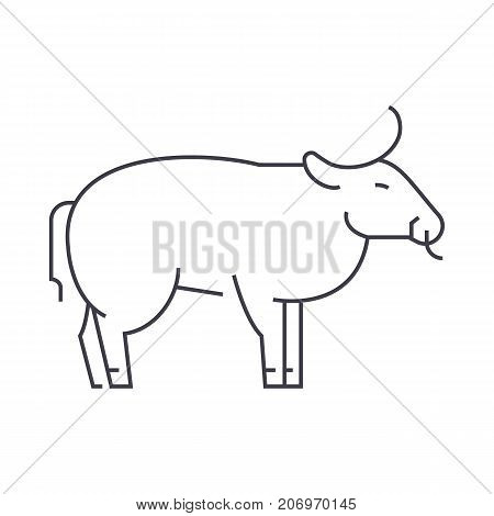 bull vector line icon, sign, illustration on white background, editable strokes