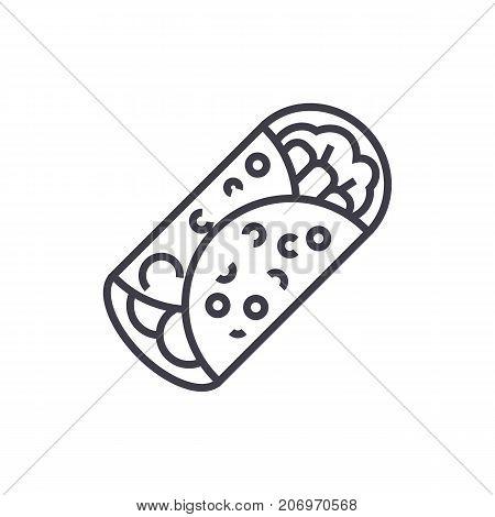 burrito vector line icon, sign, illustration on white background, editable strokes