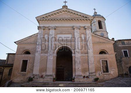 Façade of the old church in Otricoli in Italy