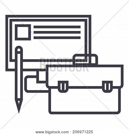 business perfomance, monitor, case, pencil vector line icon, sign, illustration on white background, editable strokes