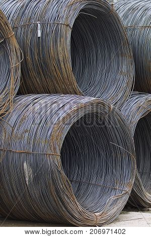 Thin metal reinforcement wound into bays at the metal products warehouse Russia