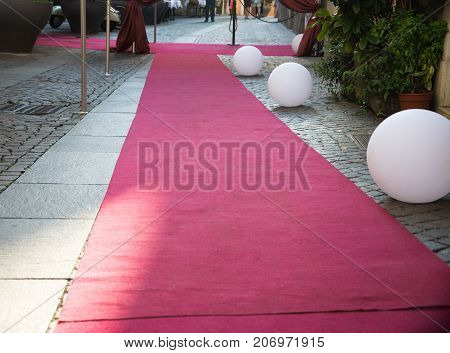 Close Up On Red Carpet On The Street