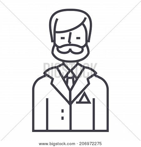 businessman, business lawyer, legal adviser vector line icon, sign, illustration on white background, editable strokes