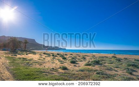 Tropical sandy beach of Karteros, Heraklion, Crete, Greece.