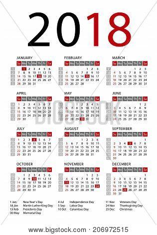 Calendar 2018 template week starts Sunday US public holidays. Vector illustration