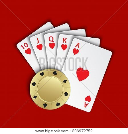A royal flush of hearts with gold poker chip on red background winning hands of poker cards casino playing cards and chip