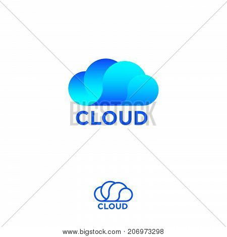 Blue cloud computing logo. Cloud info emblems.Cloud storage logo. Chat or network icon.