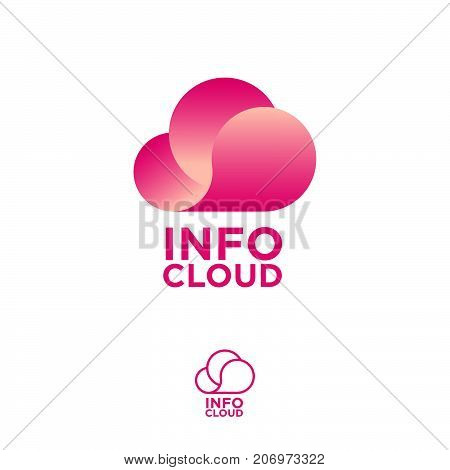 Pink cloud storage logo. Chat or network icon. Cloud computing logo. Cloud info emblems.