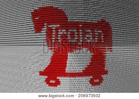 trojan horse in the form of binary code, 3D illustration