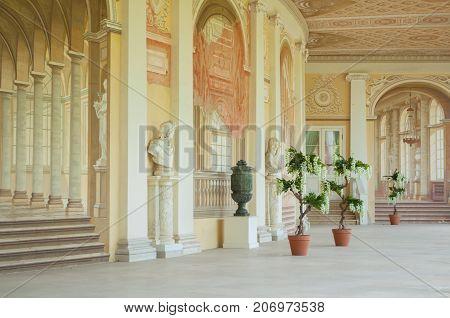PAVLOVSK ST PETERSBURG RUSSIA - SEPTEMBER 21 2017. Gonzaga Gallery building interior view of fresco ensemble in Pavlovsk St Petersburg Russia