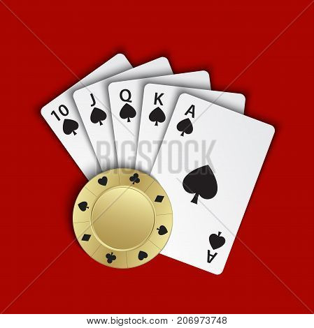 A royal flush of spades with gold poker chip on red background winning hands of poker cards casino playing cards and chip