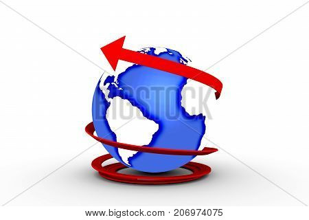 arrow around the earth on white background 3D illustration