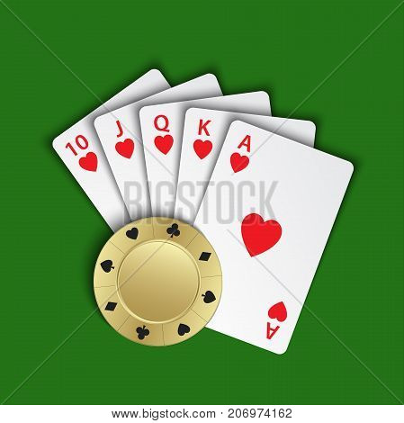 A royal flush of hearts with gold poker chip on green background winning hands of poker cards casino playing cards and chip