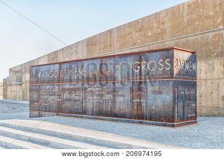 GROSS BARMEN NAMIBIA - JULY 4 2017: A wall depicting historical events and names relevant to Gross Barmen near Okahandja in the Otjozondjupa Region of Namibia