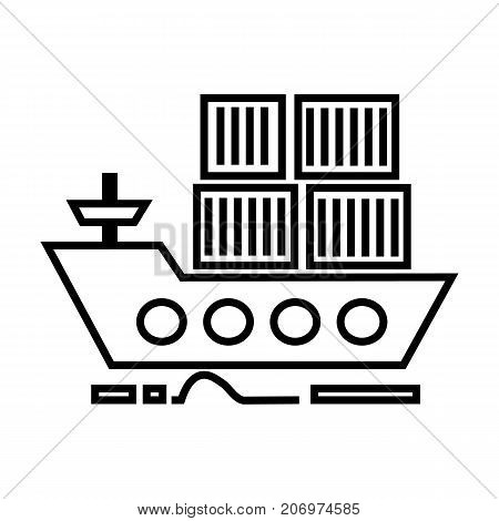 cargo delivery by sea ship vector line icon, sign, illustration on white background, editable strokes