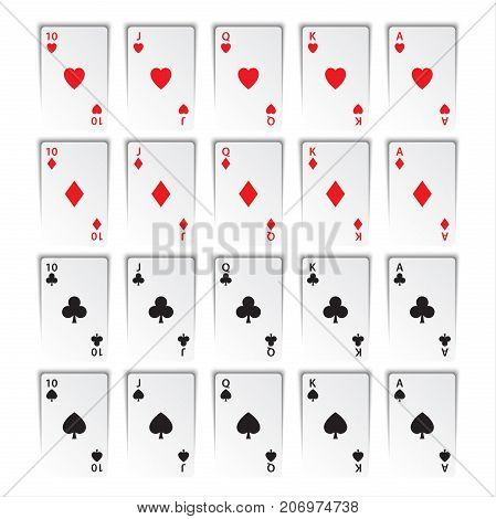 Set of royal flushes isolated on white background hearts clubs diamonds and spades casino cards